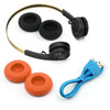 Rewind Icon Wireless Retro Headphones with accessories