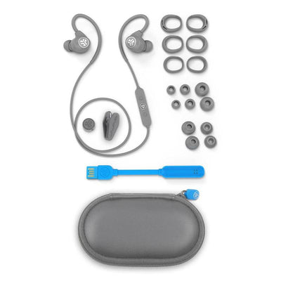 Gray Epic Sport Earbuds with All Cush Fin and Tip Sizes, Cable Clip, Charger, and Carrying Case