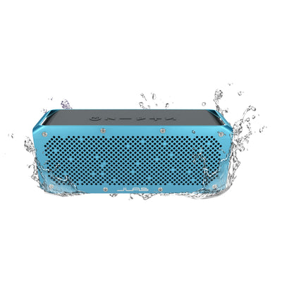Front View of Blue Crasher XL Bluetooth Speaker with Water Splashes