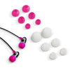 Close-up of the Black and Pink Comfort Petite Earbuds and Eartips
