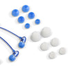 Close-up of the Blue Comfort Petite Earbuds and Eartips