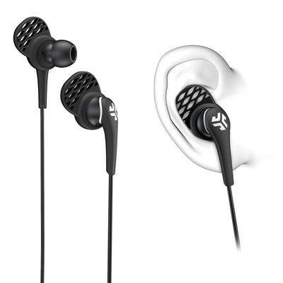 Close-up of Black Core Custom Fit Earbuds with Cush Fins in Ear Diagram
