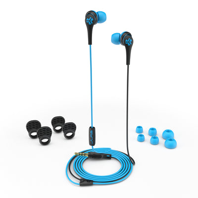 Close-up of Blue and Black Core Custom Fit Earbuds with All Ear Tip Sizes