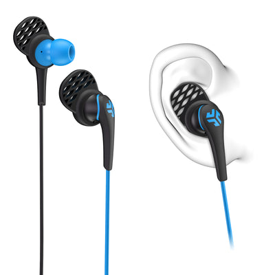 Close-up of Blue and Black Core Custom Fit Earbuds with Cush Fins in Ear Diagram