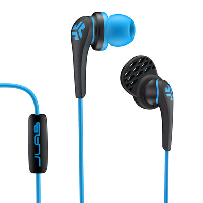Close-up of Blue and Black Core Custom Fit Earbuds with Microphone and Cush Fin