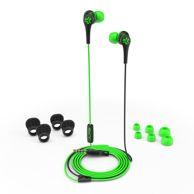 Close-up of Green and Black Core Custom Fit Earbuds with All Ear Tip Sizes