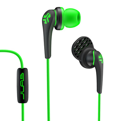 Close-up of Green and Black Core Custom Fit Earbuds with Microphone and Cush Fin