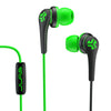 Close-up of Green and Black Core Custom Fit Earbuds with Microphone