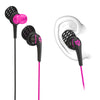 Close-up of Pink and Black Core Custom Fit Earbuds with Cush Fins in Ear Diagram