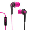 Close-up of Pink and Black Core Custom Fit Earbuds with Microphone