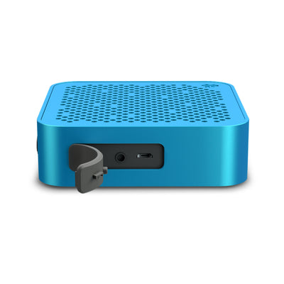 Side View of Blue Crasher Mini Bluetooth Speaker with Open Charging Port