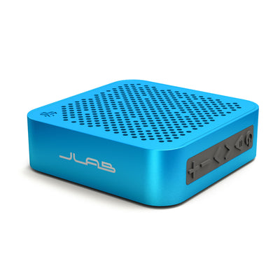 Side View of Blue Crasher Mini Bluetooth Speaker with Buttons