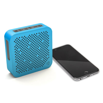 Side View of Blue Crasher Mini Bluetooth Speaker with Phone