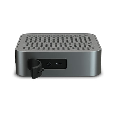 Side View of Gunmetal Crasher Mini Bluetooth Speaker with Open Charging Port