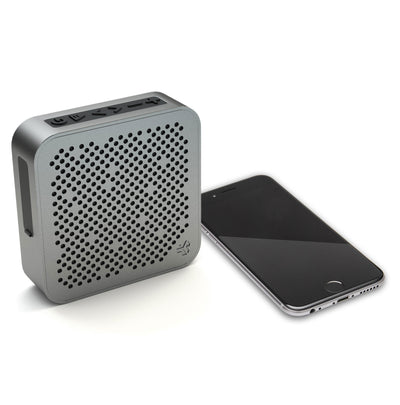 Side View of Gunmetal Crasher Mini Bluetooth Speaker with Phone