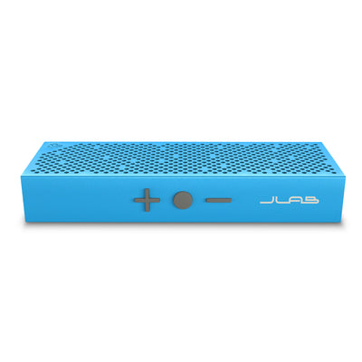 Front View of Blue Crasher Slim Bluetooth Speaker with Buttons