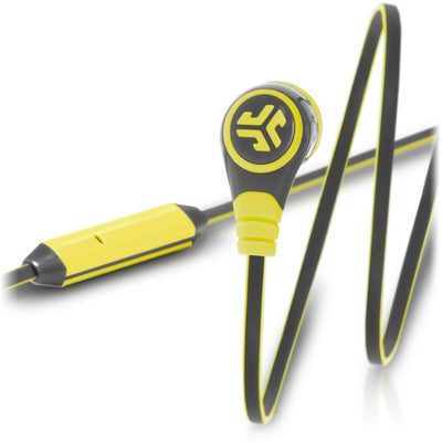Close-up of Sport Yellow and Grigio Gray Diego Earbuds and Microphone
