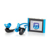 Close-Up of Blue Eclipse Fit Clip Bluetooth Media Player with JLab Go Earbud Headset