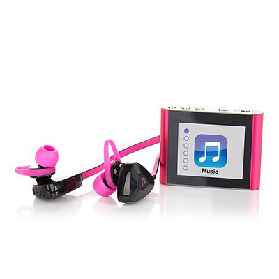 Close-Up of Pink Eclipse Fit Clip Bluetooth Media Player with JLab Go Earbud Headset