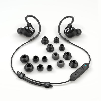 Flat Lay of Black Epic2 Bluetooth Wireless Earbud Showing All Ear Tip Sizes