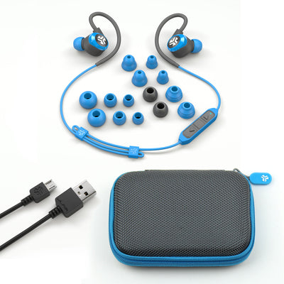 Blue and Gray Epic2 Bluetooth Wireless Earbud Showing All Ear Tip Sizes, USB Charging Cable, and Carrying Case