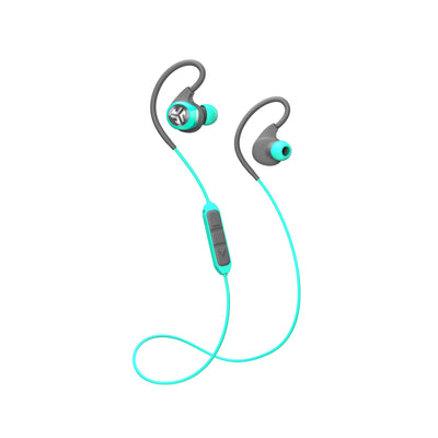 Full View of Teal Epic2 Bluetooth Wireless Earbud with Cable and Microphone