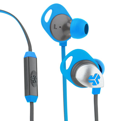 Front and Back Close-up of Blue and Graphite Epic Premium Earbuds with Cush Fins and Microphone