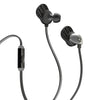 Close-up of Jet Black and Graphite Epic Premium Earbuds with Cush Fins Microphone