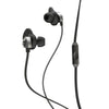 Side View of Jet Black and Graphite Epic Premium Earbuds with Cush Fins Microphone