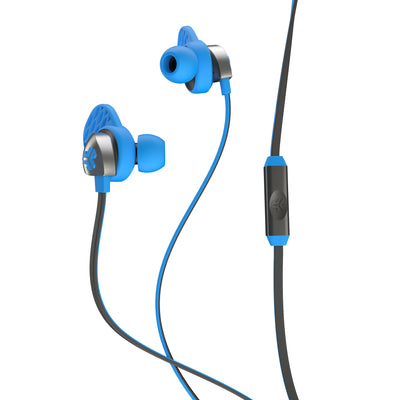 Side View of Blue and Graphite Epic Premium Earbuds with Cush Fins and Microphone