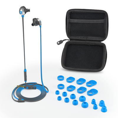 Electric Blue and Graphite Epic Earbuds with Carrying Case and All Tip Sizes and Cush Fins