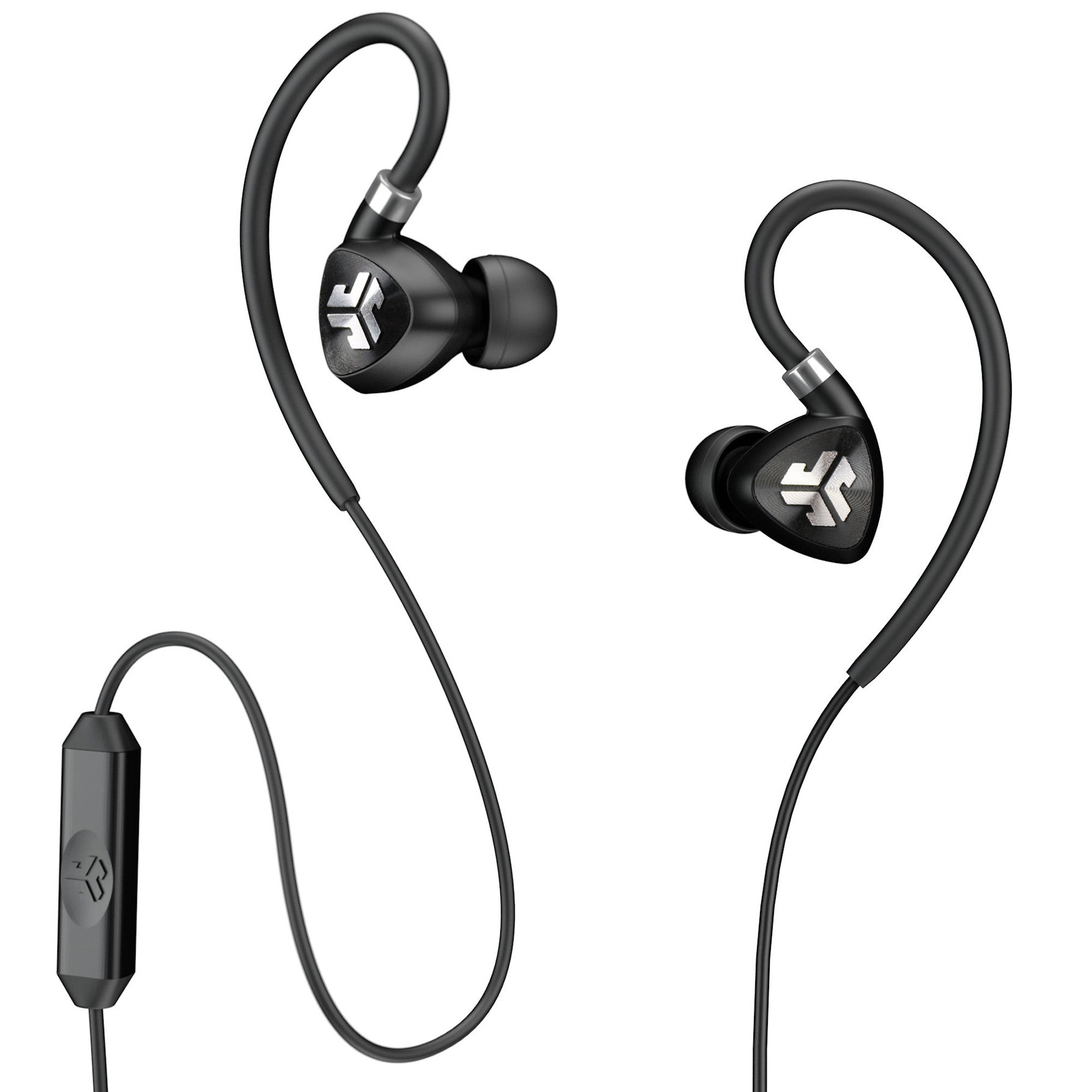 78185a0d2c7 Close-up of Black Fit 2.0 Sport Earbuds and Microphone