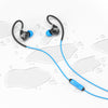 Flat Lay of Black and Blue Fit 2.0 Sport Earbuds in Water Drops