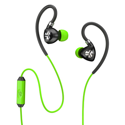 Close-up of Black and Green Fit 2.0 Sport Earbuds and Microphone