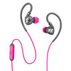 Close-up of Gray and Pink Fit 2.0 Sport Earbuds and Microphone