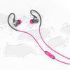 Flat Lay of Gray and Pink Fit 2.0 Sport Earbuds in Water Drops