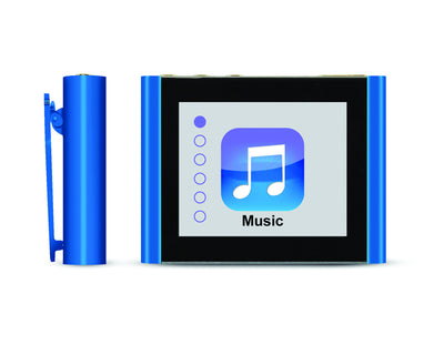 Front and Side Close-Up of Blue Eclipse Fit Clip Bluetooth Media Player
