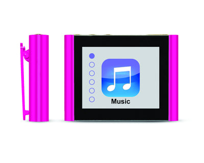 Front and Side Close-Up of Pink Eclipse Fit Clip Bluetooth Media Player