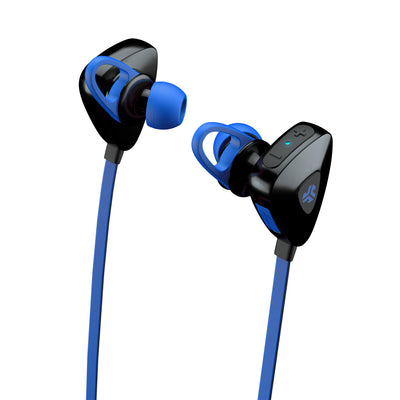 Close-up View of Blue JLab Go Earbuds with Cush Fins and Eartips