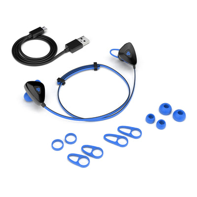 Blue GO PLUS Bluetooth Sport Earbuds with Cush Fins, All Eartip Sizes, and Micro USB Cable