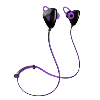 Front View of Purple GO PLUS Bluetooth Sport Earbuds with Cush Fins