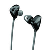 Close-up View of Gunmetal JLab Go Earbuds with Cush Fins and Eartips