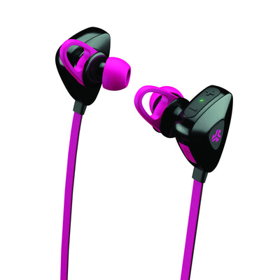 Close-up View of Pink JLab Go Earbuds with Cush Fins and Eartips