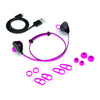 Pink JLab Go Earbuds with All Cush Fin and Eartip Sizes, and USB Cable