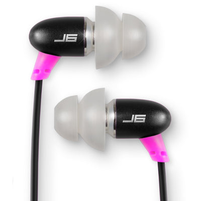 JBuds J6 Petite Metal Earbuds in black and pink