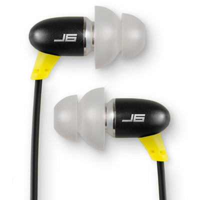 JBuds J6M Petite Metal Earbuds with Mic in black and yellow