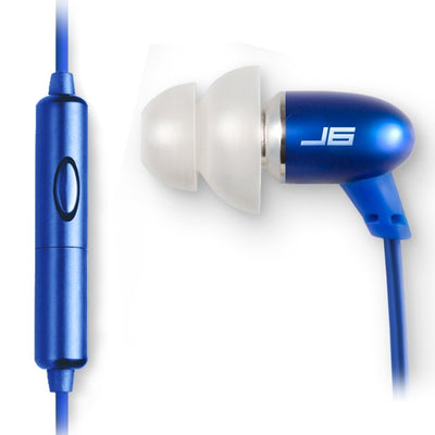 JBuds J6M Petite Metal Earbuds with Mic blue