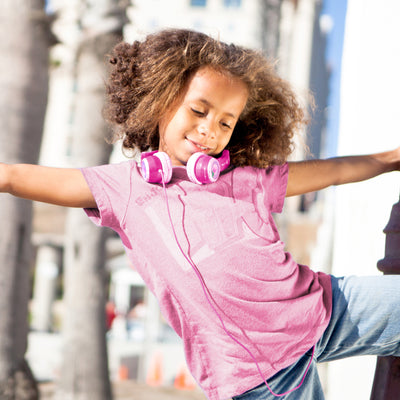 Girl Dancing Wearing Pink JBuddies Kids Headphones