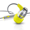 Metal Earbuds in silver and yellow