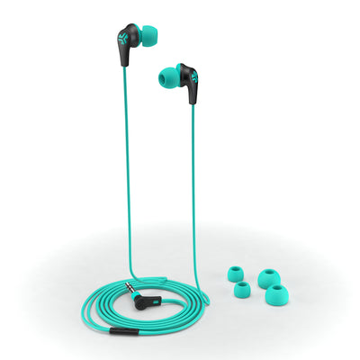 JBuds2 Signature Earbuds in teal with accessories